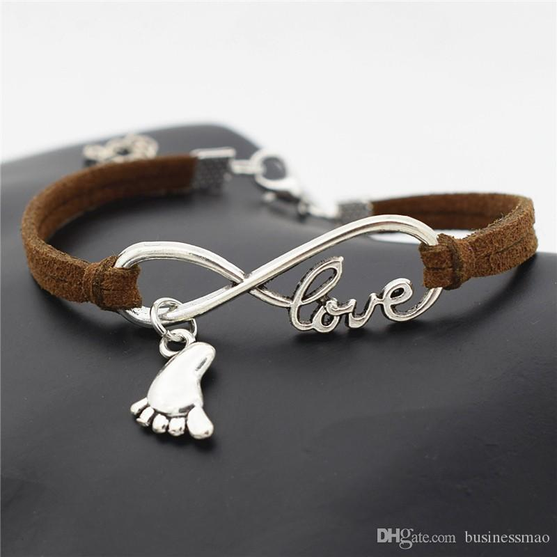 Infinity Love Foot Feet Pendant Diy Charm Bracelet Bangles Couples Men Women Woven Braided Dark Brown Leather Suede Rope Unisex Jewelry Gift