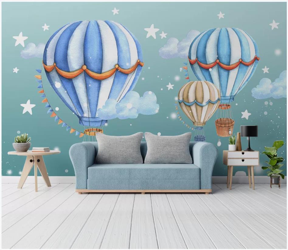 Papel de parede foto personalizado para paredes 3 d mural wallpapers Modern pintados à mão quarto de crianças balão de ar quente parede mural dos desenhos animados
