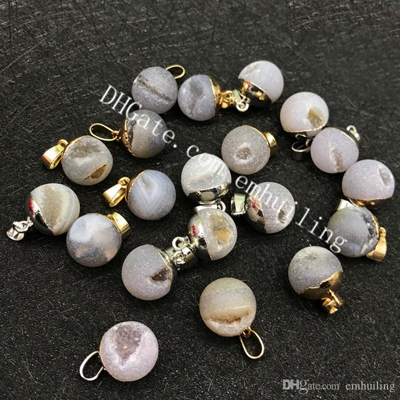 20Pcs Natural Drusy Geode Gemstone Charm Frosted Druzy Quartz Rock Agate Matte 15mm Round Gray Beads Pendant with Gold or Silver Plated Bail