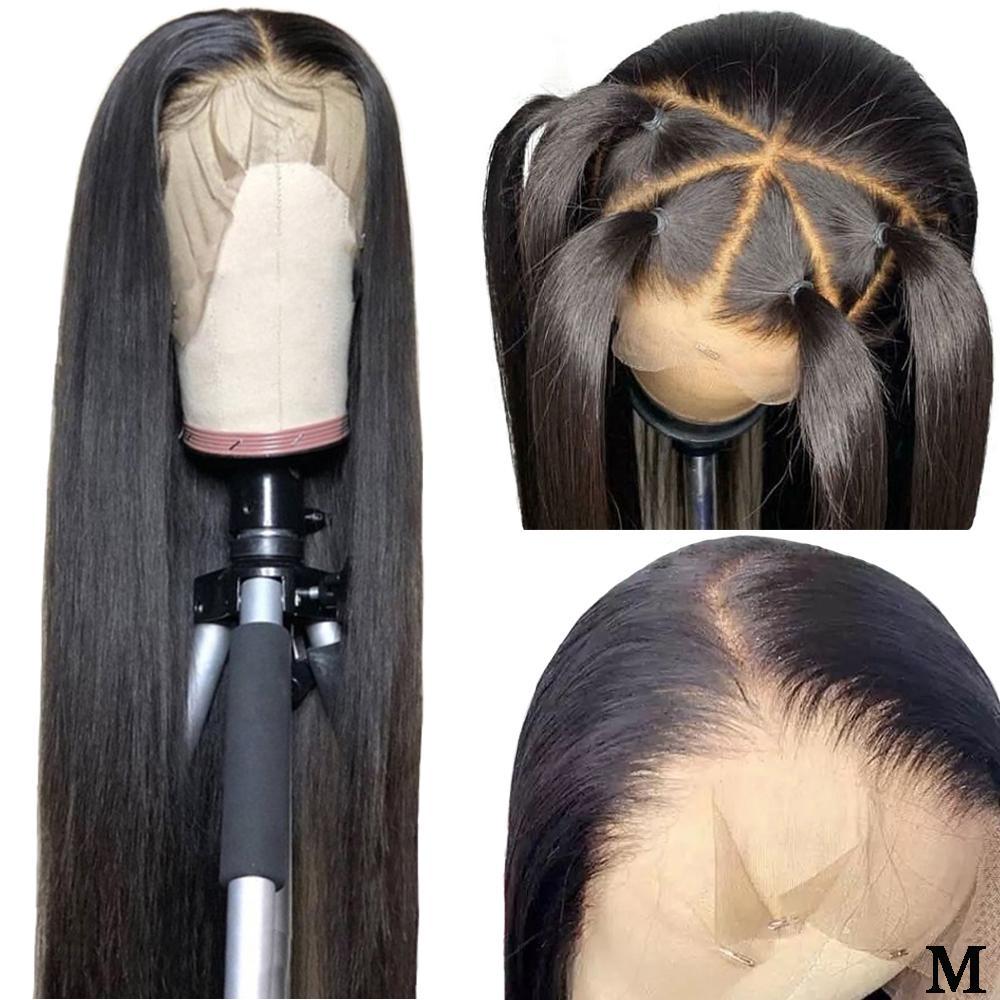 360 Dantel Frontal Peruk Öncesi Mızraplı Doğal Saç Çizgisi% 150 Yoğunluk Orta Oran Perulu Düz Remy Dantel Frontal İnsan Saç Peruk