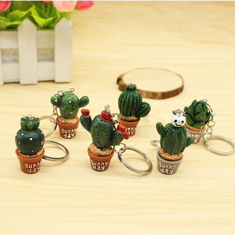 Hediyeler korunması 100pcs / Lot 3D Mini Cactus Anahtarlık Bitki Bonsai Anahtarlık Sunny Day Anahtarlık Good Mood Anahtarlık Çevre