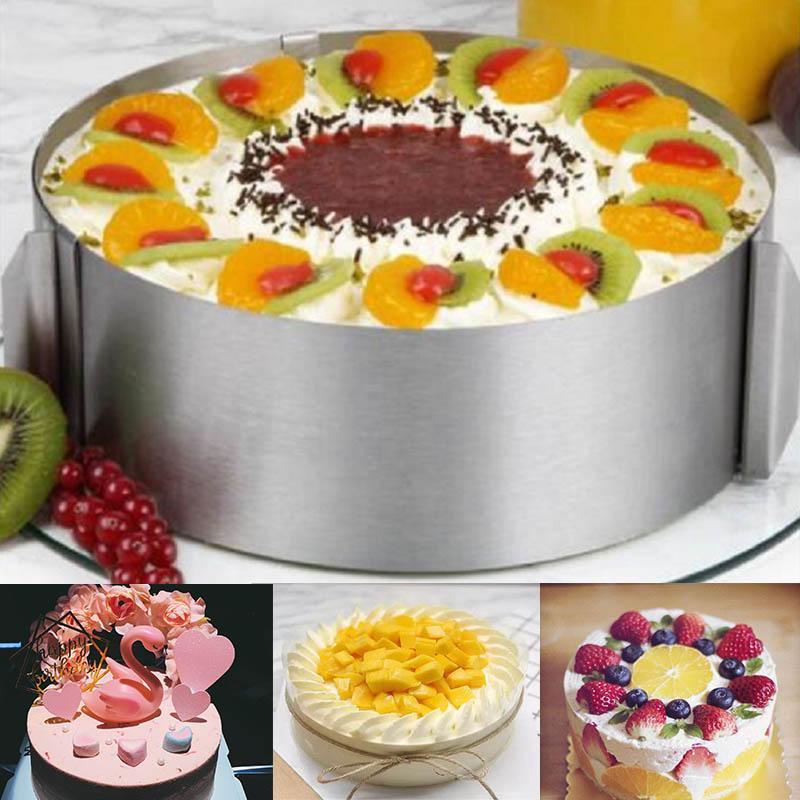 DIY торт Формы 6-12 дюймов Регулируемая нержавеющей стали круглого Мусс для выпечки Инструменты Cake Mold выпекание кондитерских изделий Кольцо Cercle