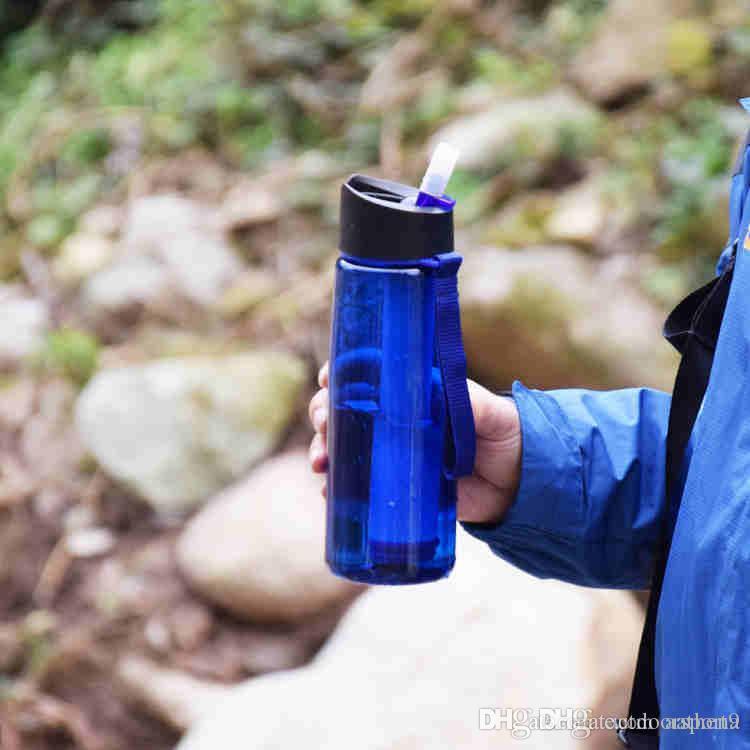 sports de plein air en plein air purificateur d'eau portable tasse d'eau filet de filtre corde bouilloire droit tasse d'eau potable