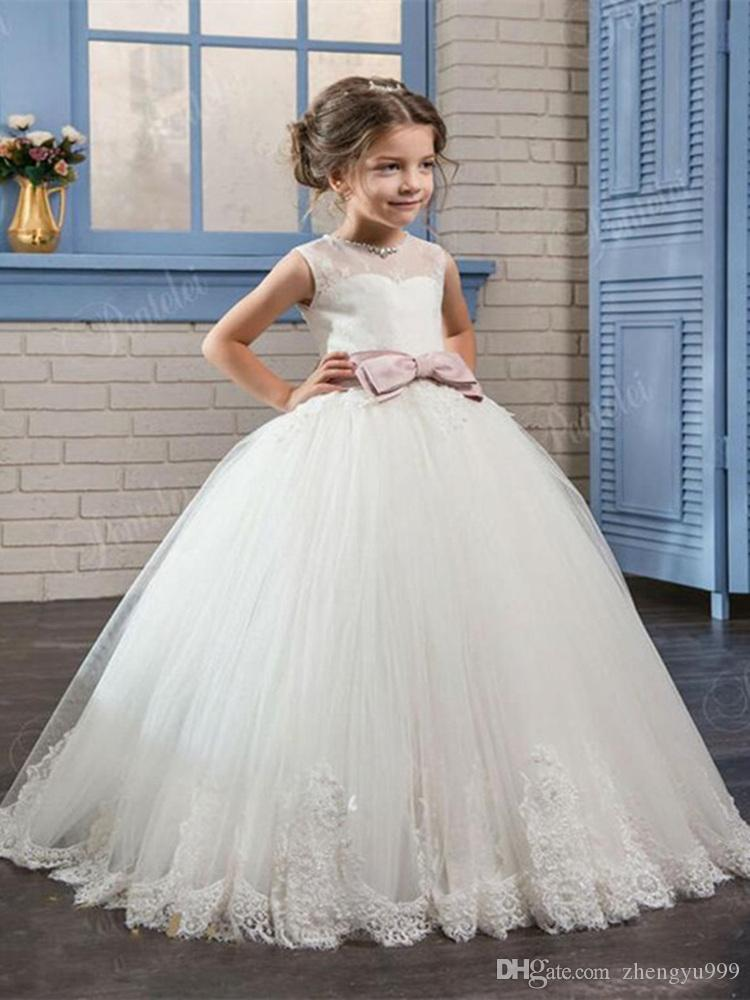 Flower Girl Dress Princess Pageant Wedding Bridesmaid Party Lace Long Gown Tutu