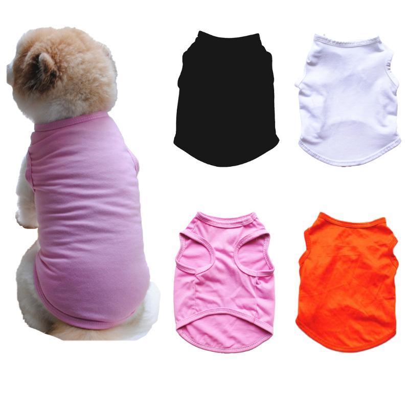 Sólido 2020 camisa de perro de animal doméstico del color baratos gatos del perro del estilo del verano Ropa Para linda la camiseta del polo del traje de peluche Chihuahua ropa 10A