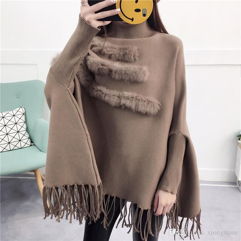 2019 Gerçek Tavşan Kürk Patchwork Cloak Kazak Kadınlar Cape Ve Panço Şal Siyah Püskül Kırmızı Sonbahar Kış Bat Kollu Kazak