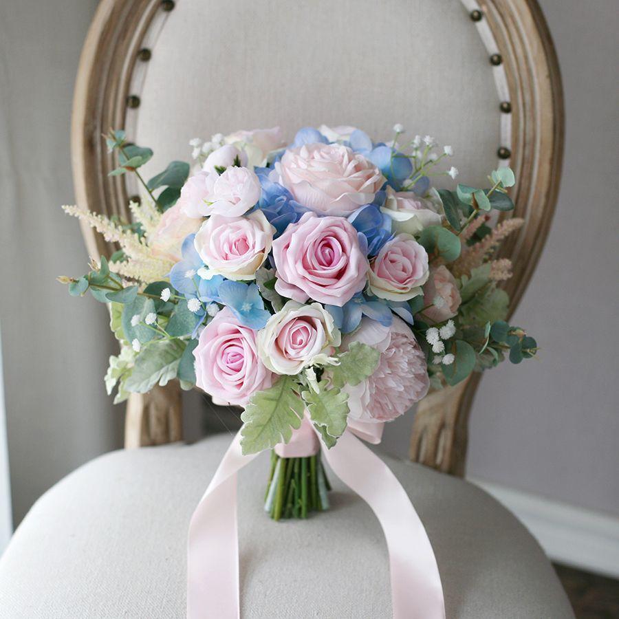 핑크 블루 꽃 신부 부케 2020 장미 수국 웨딩 홈 장식 인공 신부 지주 브로치 꽃다발 신부 꽃