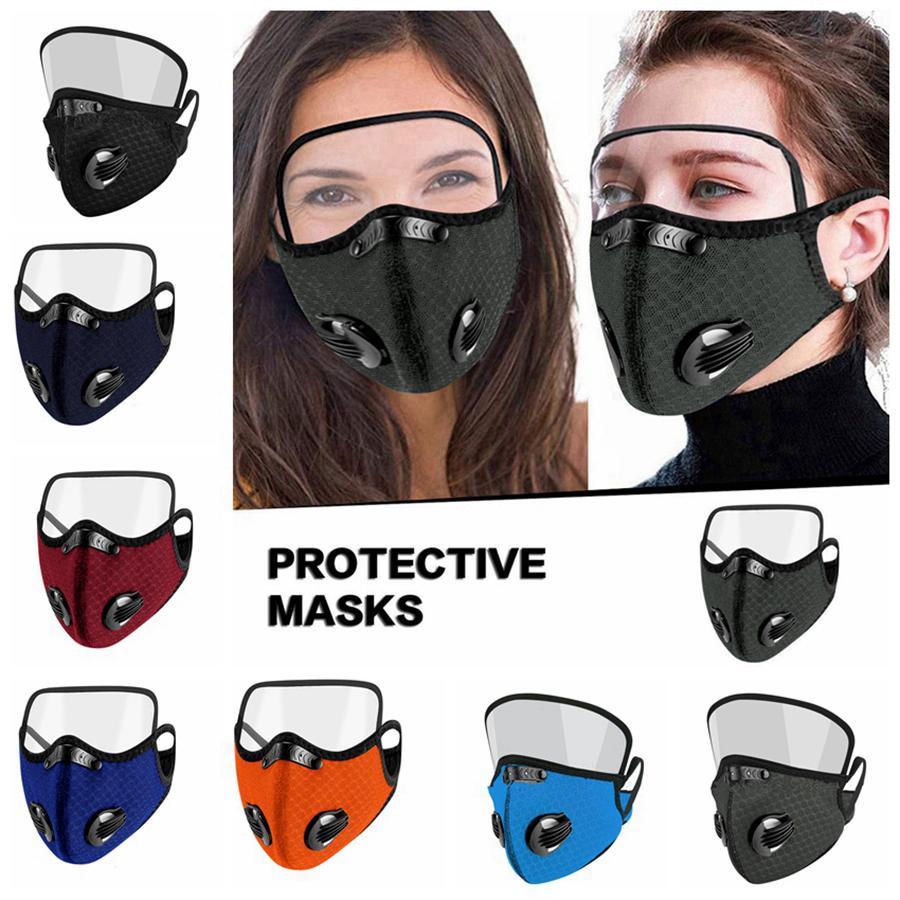 2 en 1 Masque Cyclisme Avec Bouclier extérieur Sport yeux Masque Réutilisable Masques de visage Smog extérieur Protection Masque réglable respirateurs RRA3398