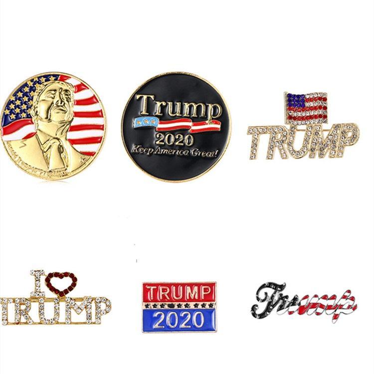 Broche nueva Trump 6 Estilos 2020 Brillante Americana Broche Bandera republicana Patriótica Pin del favor de la campaña conmemorativa Broche T2C5229