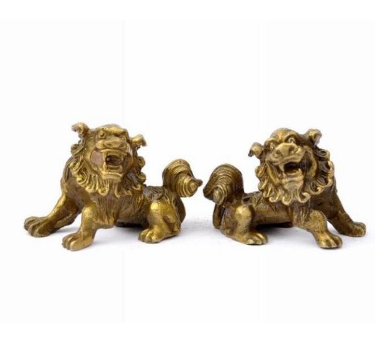 Feng Shui lucky Exorcise evil spirits Fuzhou copper Bronze Lion lucky feng shui ornaments of bronze Home Decor [a pair]