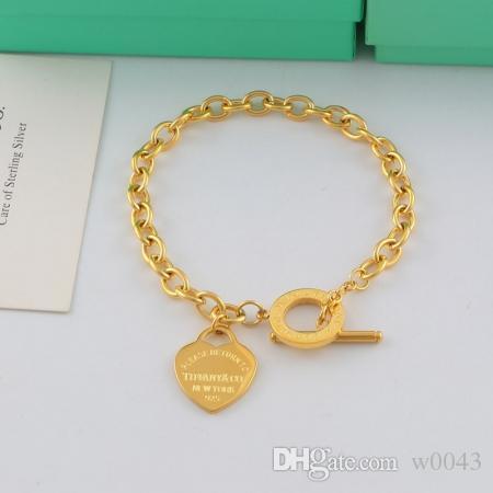 2020 tasarımcı Aşk Kalp Lüks Bilezik Kadınlar Titanyum Çelik Bağlantı Zinciri Altın Kadın Bileklik Marka Takı Pulseras Hediye cd