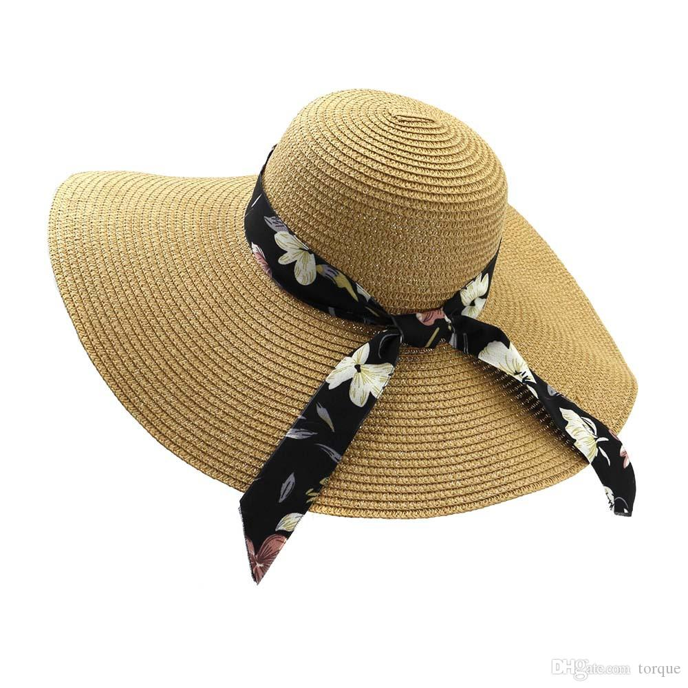 Summer Lady Seaside Straw Hat Temperament Sun Hat Straw Folding Beach Sun Hat Beach Holiday Travel Sun Hats