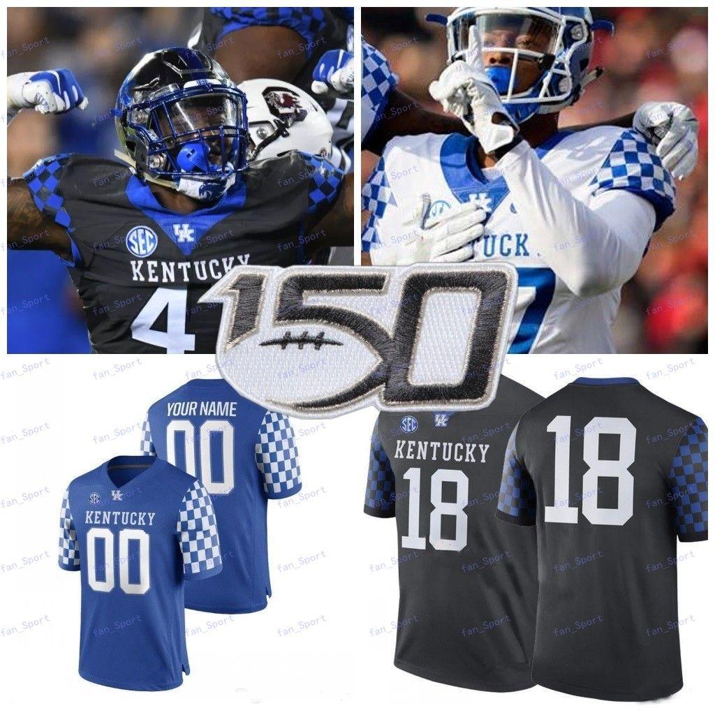 Benutzerdefinierte 2020 Kentucky Wildcats Jeder Name Number Blue Black White 1 Lynn Bowden Jr. 3 Terry Wilson 26 Benny Snell Jr. College Football Jersey