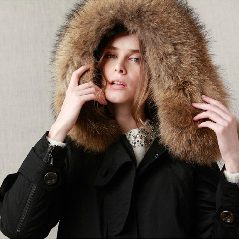 gevşek giysiler T200319 dış giyim JAZZEVAR 2019 yeni kış ceket ceket kadın parkas asker yeşili Büyük rakun kürk yaka kapüşonlu kadın