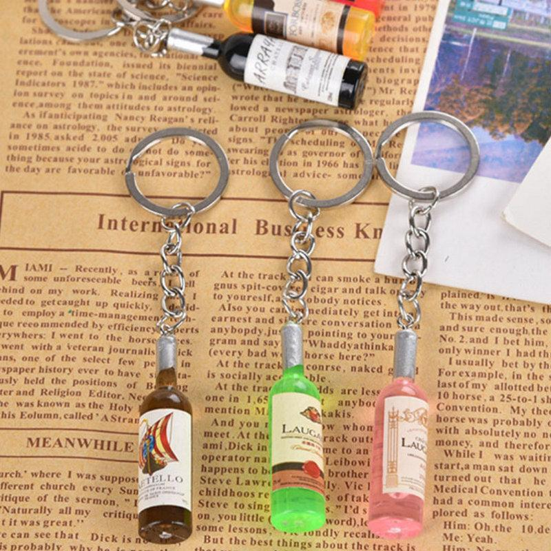 Small wine bottle wine cell phone pendant key chain key ring beer bottle creative Korea jewelry gifts Men Wedding Gift