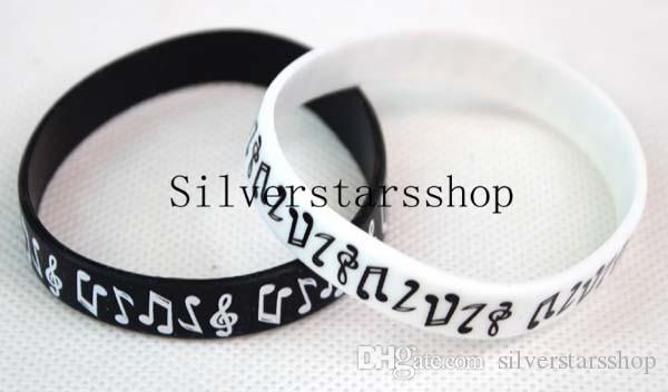 50pcs musical nota silicone pulseira pulseira acessórios preto e branco