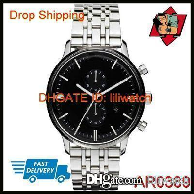 100% ORIGINAL JAPAN MOVEMENT DROP SHIPPING NEW TWO-TONE CLASSIC MENS SPORT CHRONOGRAPH WATCH AR0389 AR0390 AR0396 AR0399 AR1648