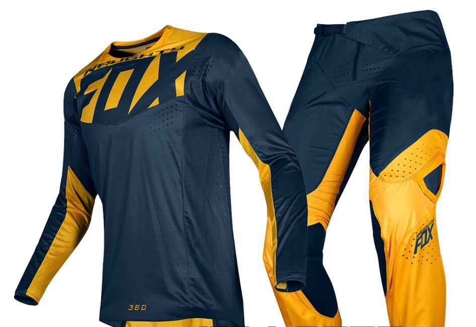 NEW 2019 NAUGHTY Fox Mens Navy Blue/Yellow 360 Kila Dirt Bike Jersey & Pants Kit Combo Adult Motocross Gear Set MX/ATV Dirt Bike