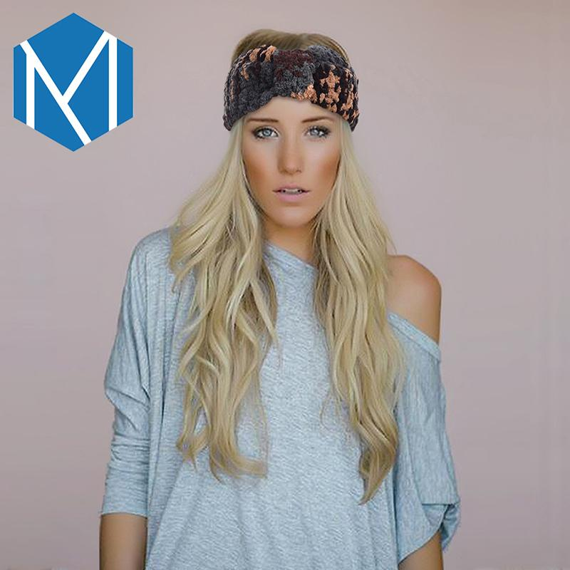Neue Mode Frauen Samt Stretch Turban Plissee Stirnband Winter Warme Tarnung Damen Haarschmuck Gestrickte Headwraps