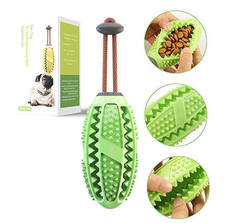 Dog Teeth Cleaning Chew Toys Ball Toothbrush with Rope Nontoxic Bite Resistant Food Dispensing IQ Treat Toy Interactive Pet Chewy Toys