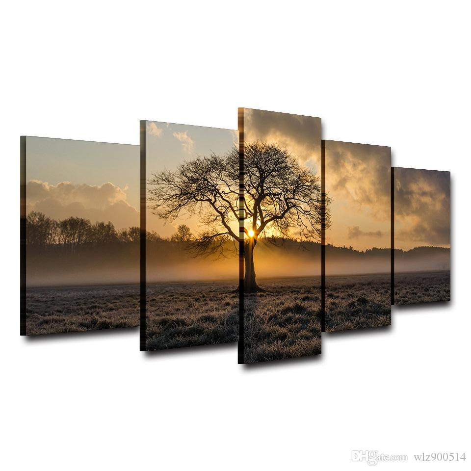 Canvas Painting Vintage Wall Art Frame Printed Pictures 5 Panel Poster Sunrise Tree Landscape Photo For Living Room Decor No Frame