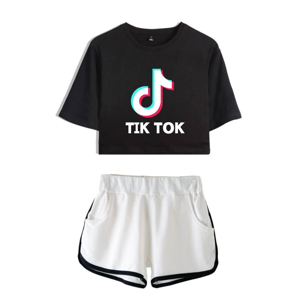 Программное обеспечение тик ток 2019 Kpops Новое Лето женщины из двух частей комплект шорты и милые футболки одежда горячая продажа Харадзюку печати