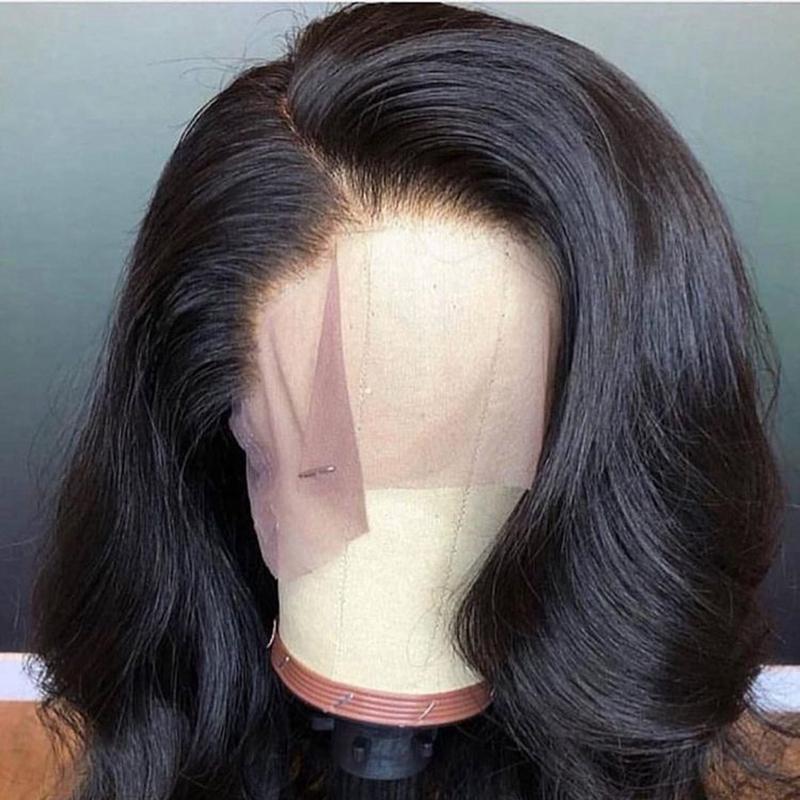 Бразильский Объемная волна фронта шнурка человеческих волос Парики для женщин Natural Black отбеленная Pre щипковых с волосами младенца Remy отбеленные узлы