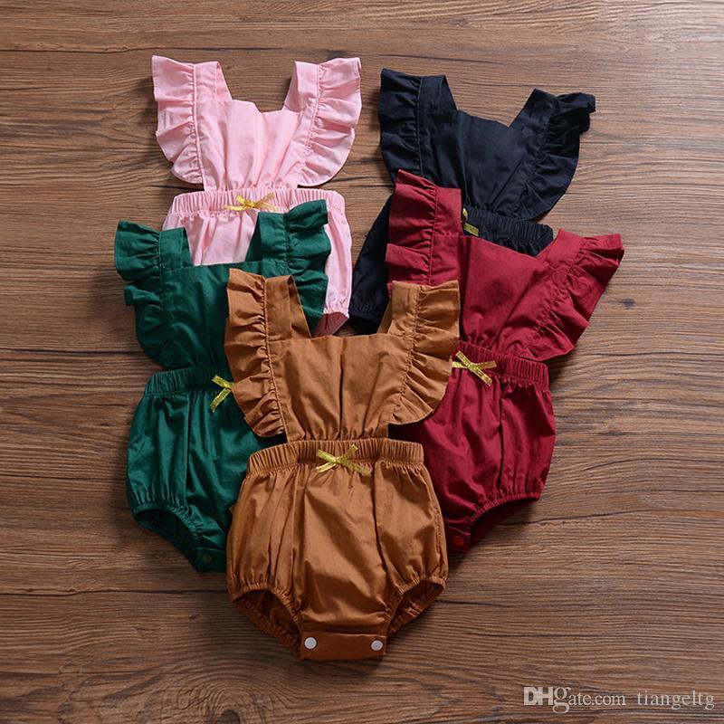 아기 소녀 솔리드 rompers 5 색 여름 코튼 탄성 허리 나비 넥타이 프릴 접기 레이스 jumpsuit 키즈 onesies 여자 여자 복장 0-3t