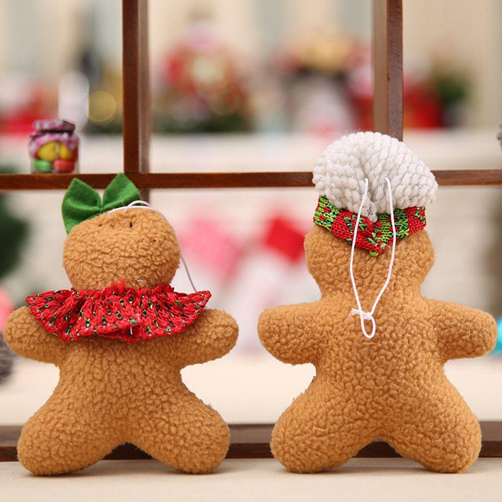 2018 Gingerbread Man Noel Kolye Kolye Dekorasyon Çerez Bebek Peluş Noel Ağacı Widget Ağacı Süs M4