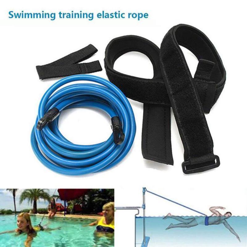 Prático Força Resistência Natação Equipamento de treinamento Elastic Rope Piscina Fitness Formação Set Belt Workout Pull Belt