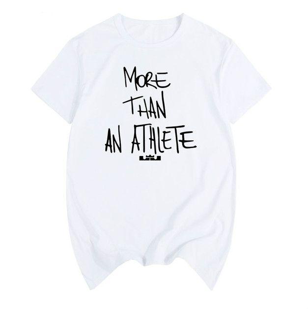 르브론 제임스 같은 스타일 T 셔츠 개 이상의 운동 선수 편지 인쇄 O-목 티 셔츠면 짧은 티셔츠