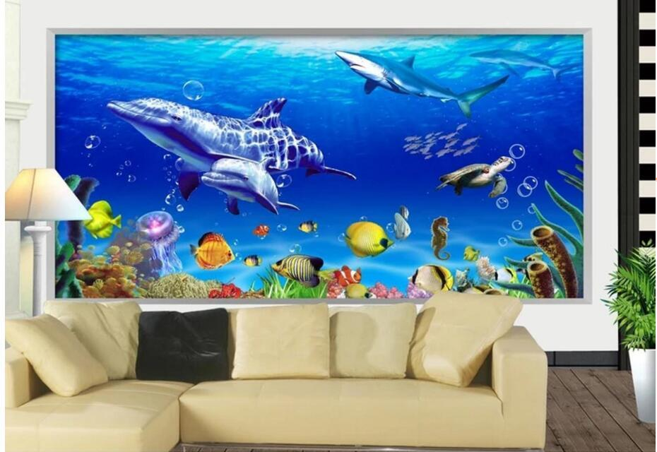 WDBH 3d wallpaper custom photo Dolphin whale fish underwater scenery living room home decor 3d wall murals wallpaper for walls 3 d