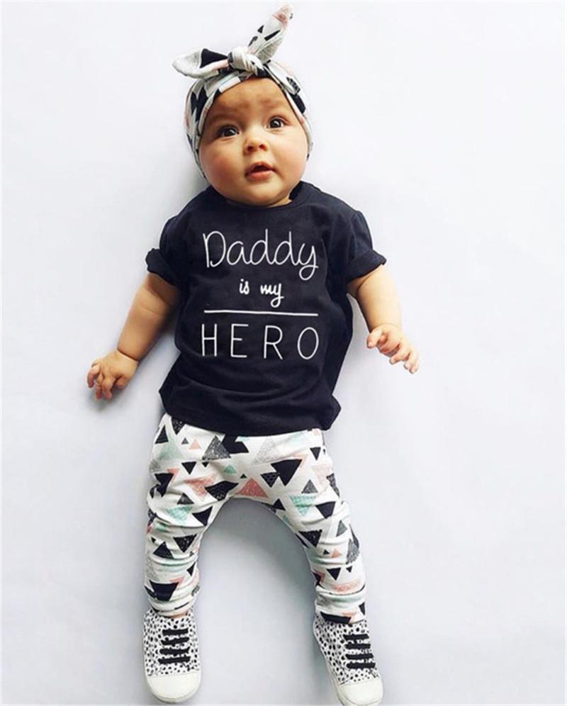 Sommer-neugeborene Kind-Baby-Kleidung Vati ist mein Held Kurzarm T-Shirt Tops + Pants + Stirnband-Kleinkind-Outfits Set