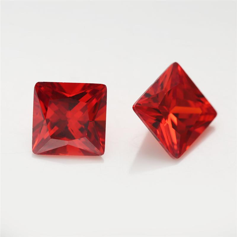 1.5x1.5~15x15mm 5A Grade Orange Red Color Square Shape Cubic Zirconia Stone Loose CZ Stone Princess Cut Synthetic Gems