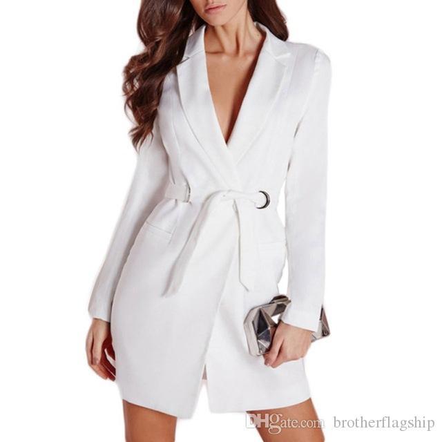 Femmes Élégant Long Blazer Femelle Blanc Noir Coton Ceintures Slim Veste Costume De Mode Casual Femmes Blazer De Travail Blousons Manteaux