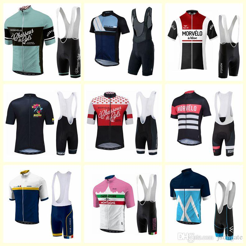 2019 new hot Morvelo Cycling Short Sleeves jersey bib shorts Breathable sport wear cycling clothes Bicycle Clothing summer MTB Bike F60203