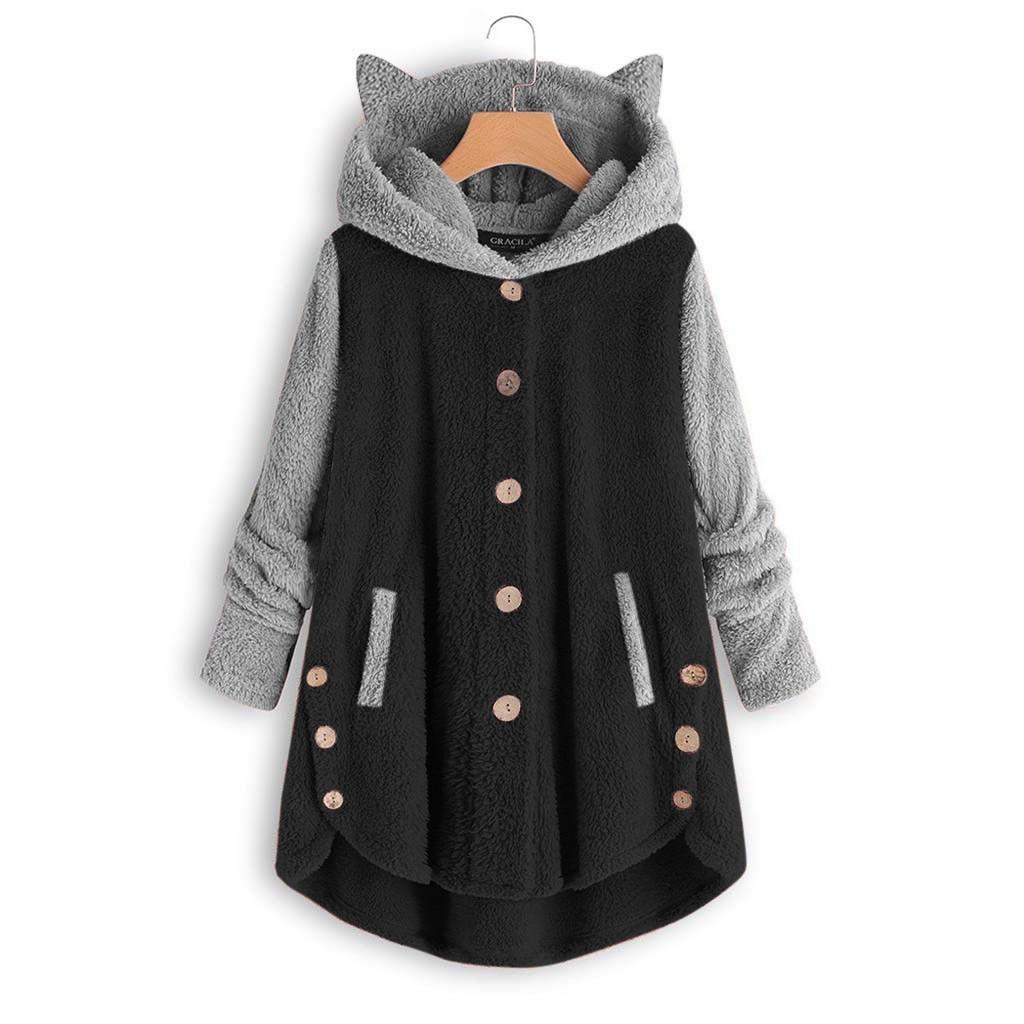 Толстовки женщины кнопка пальто Patchworl топы с капюшоном пуловер свободные толстовка блузка плюс размер ropa mujer