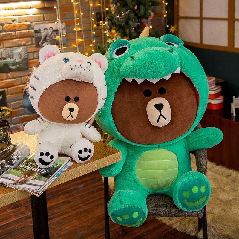 Korea Braunbär Plüschtiere für Kinder Dinosaurier Tiger Dog Giraffe Rosa Schwein Dressing Cosplay Kuscheltiere für jungen mädchen