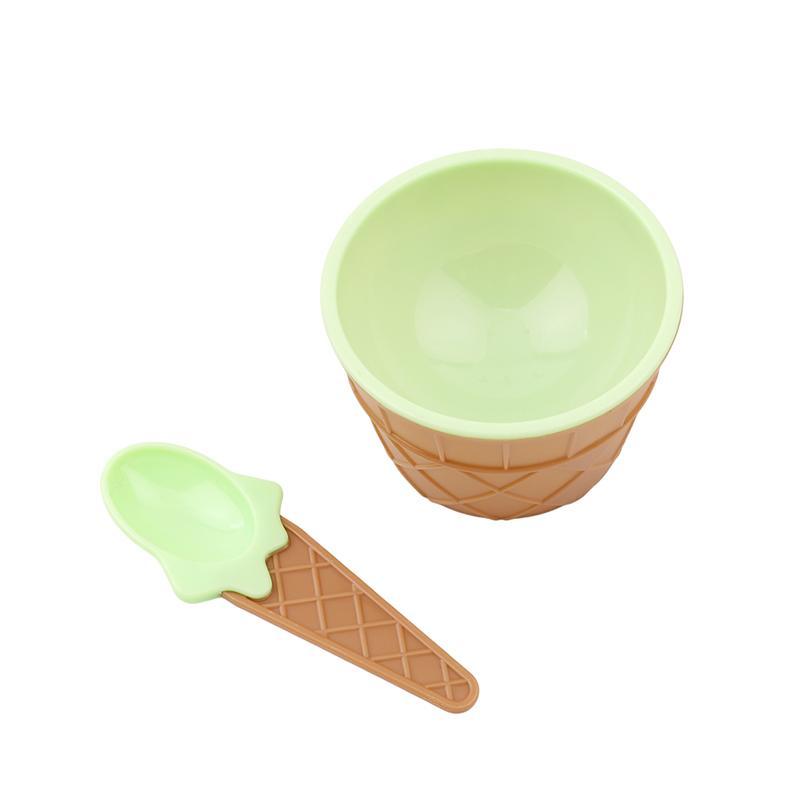 Regalos del plástico DIY del cuenco del helado con una cuchara del color del caramelo para los amantes del helado de los niños de la cucharada de la Copa del cubo de hielo bandeja Ijslolly houder