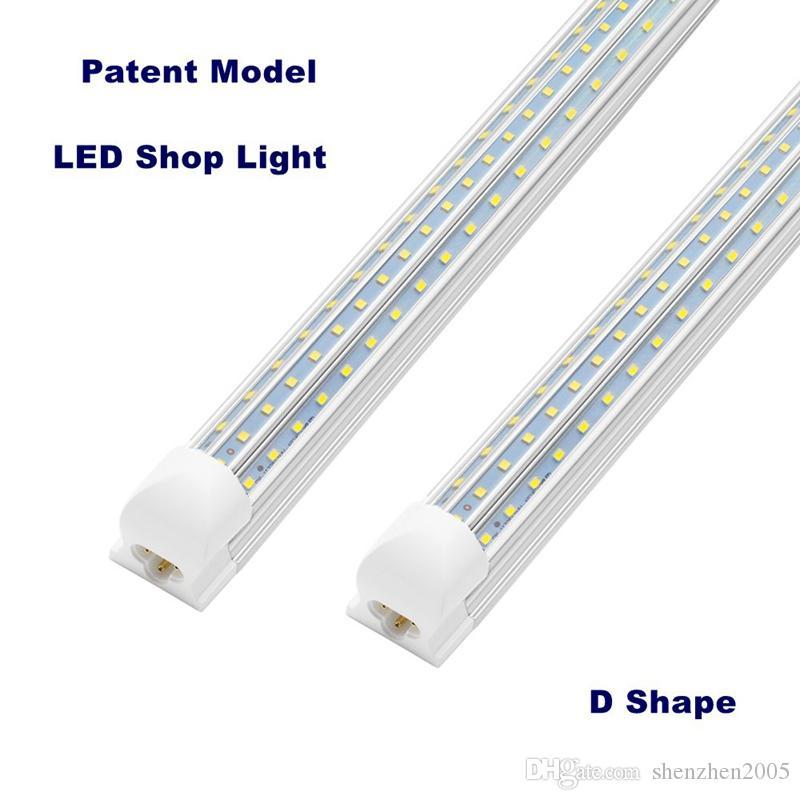 En forme de D T8 Led Tube lumières 4FT 60W 8FT 120W D Forme intégré 3 rangée de DEL Magasin lumières de grange d'entrepôt de garage