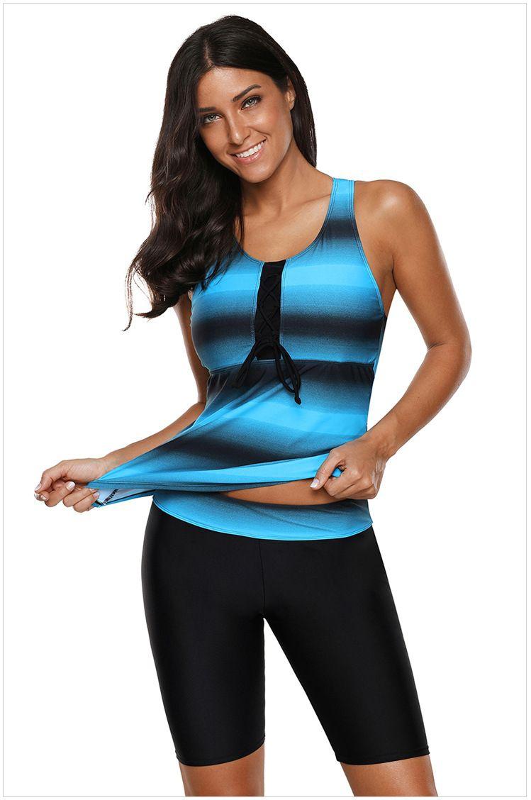 Women's Bikini Set Tank Tops & Shorts Sexy Beach Plus Size S- 3XL Summer Split Gradient Print Swimwear Casual Lining Pad American Clothes
