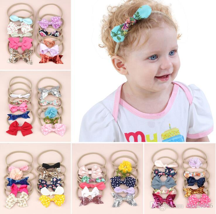 10-Pack Fasce Accessori Set neonata Headbads capelli principessa Ragazza appena nata di nylon dei capelli delle fasce elastiche Papillon Handcrafted fascia