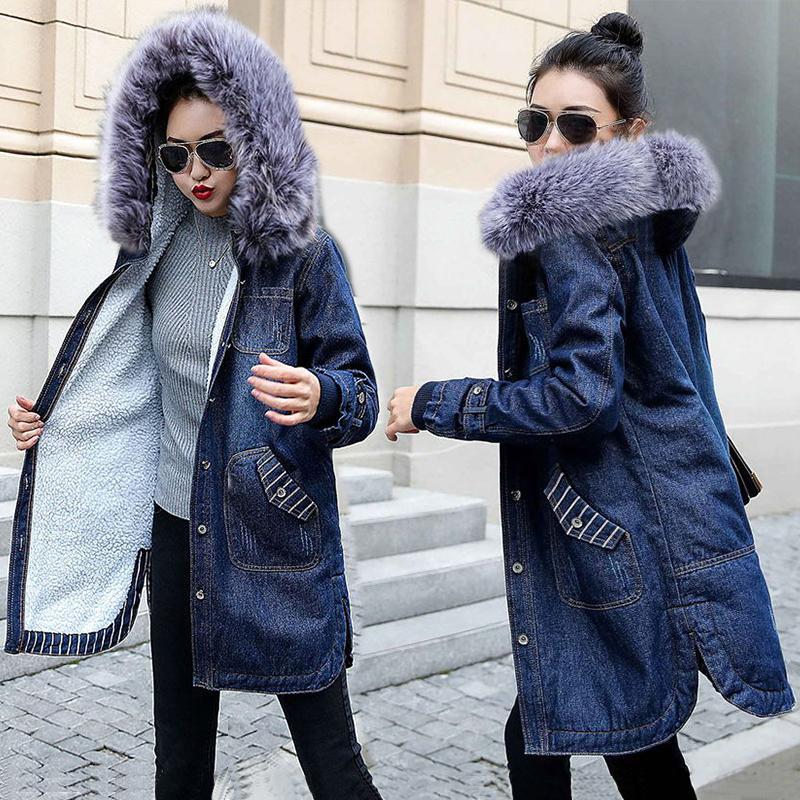 Autumn Winter Women jean jacket Fur lining Denim Jacket for Women Plus size 5XL Hooded Jean Coat Female Warm Denim Long Outwear T190909