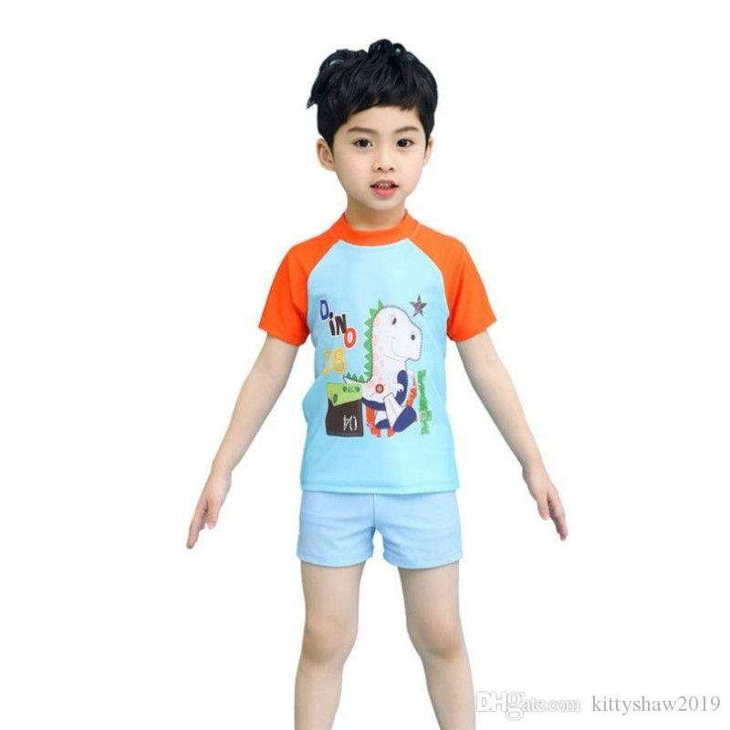 New Fashion Children Shark dinosaur cartoon quick dry swimwear 2Pcs Clothes Swimming Suit Boy Swimsuit Kids T-shirt And Shorts