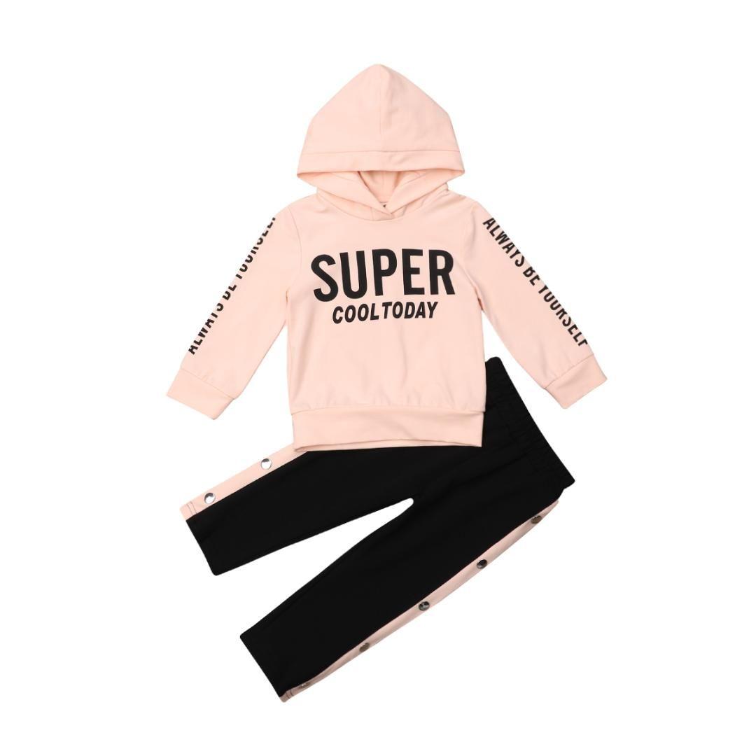 Nuova vendita calda Little Baby Girl vestiti freddi Set Fashion Babies Kids Girl Top con cappuccio T-Shirt Pants Tuta Lettera Outfits 0-5T