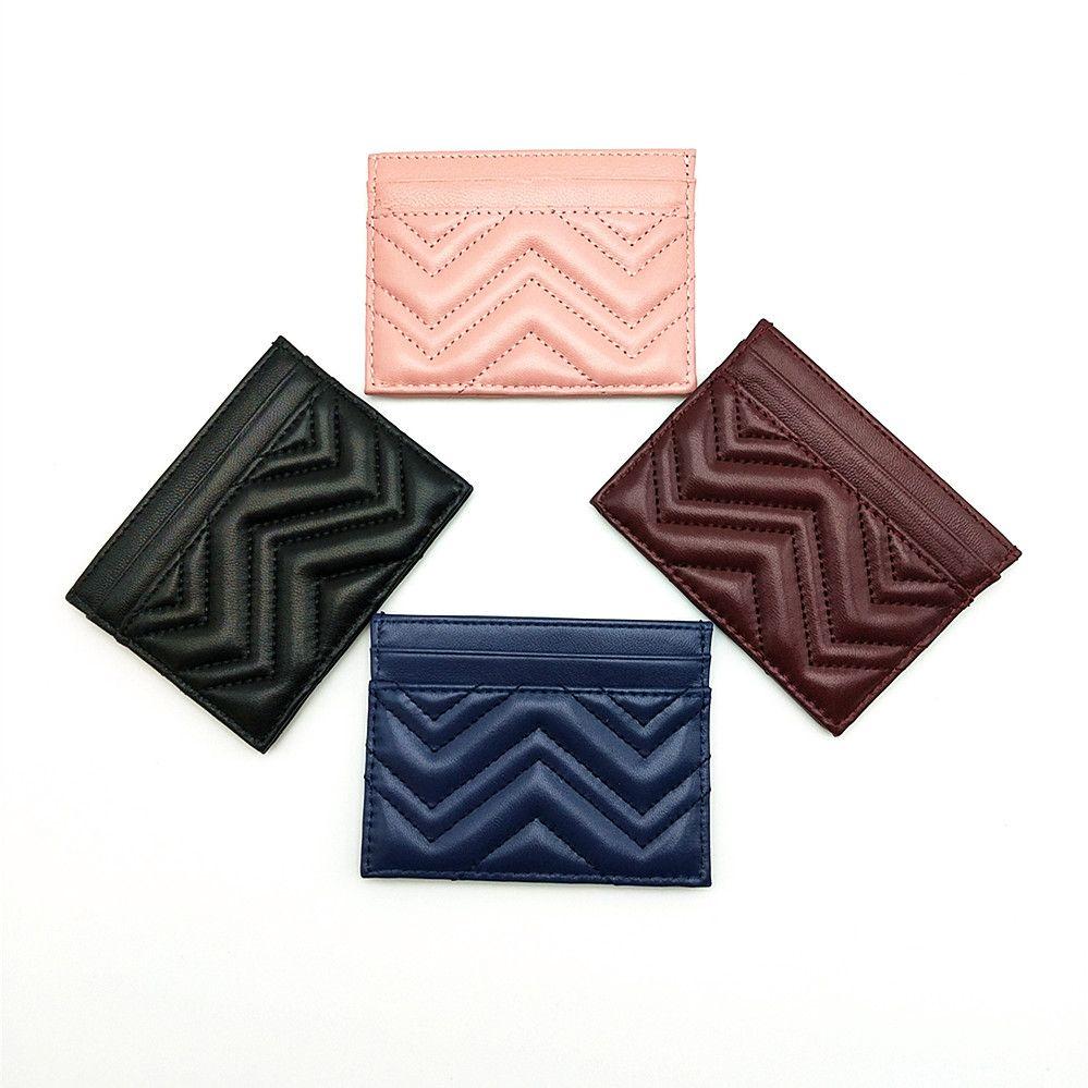 Genuine Leather modo di alta qualità Wave Classic Uomini Donne Zig Zag della carta di credito vera pelle titolare della carta Banca mini raccoglitore con la scatola