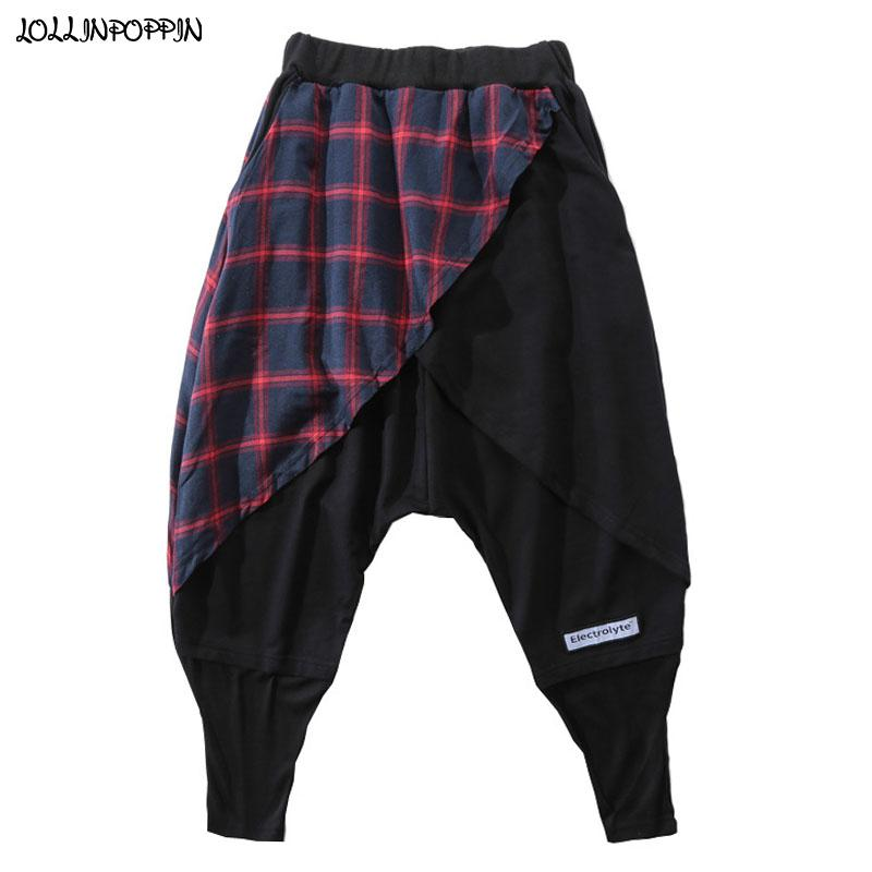 Street Hip Hop Männer Scottish Plaid Patchwork Haremshosen britische Art Mens Casual Jogger Pants Punk Männer Pantskirt