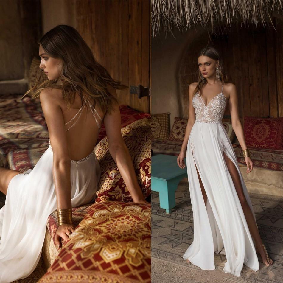 Sexy Berta A-line High Side Split Wedding Dresses V Neck Lace Appliques Beaded Vestios De Novia Backless Wedding Dress Bridal Gowns Custom