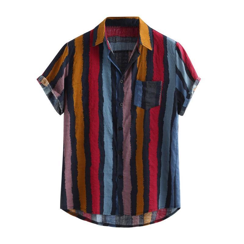 تصميم جديد الصيف للرجال زائد حجم فضفاض متعدد الألوان قصيرة الأكمام الشريط جولة تنحنح قميص مقطوع جيب الصدر القمم عرضي