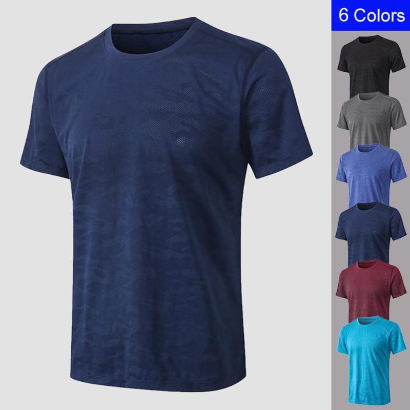 Spor Egzersiz Spor Erkek Tshirt Koşu Erkekler Spor Tişört Kamuflaj Baskı Hızlı Kuru Tişört Elastik O Yaka Kısa Kollu